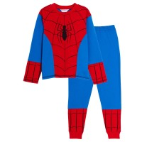 Boys Marvel Spiderman Dress Up Pyjamas Kids Novelty Full Length Pj Set Nightwear