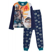 Boys Mandalorian Pyjamas Kids Star Wars Yoda Full Length Pjs Set Nightwear Size