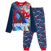 Boys Marvel Spiderman Pyjamas Kids Avengers Full Length Pjs Set Nightwear Size