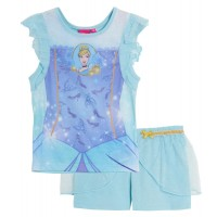 Disney Princess Short Pyjamas Girls Dress Up Shorties Pj Set Kids Nightwear Size