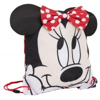 Girls Novelty 3D Minnie Mouse Drawstring Gym Bag Disney Nursery Swim Backpack