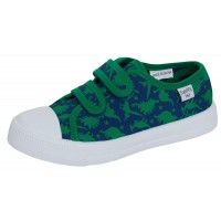 Boys Dinosaur Canvas Shoes Kids Dino Plimsoll Trainers Easy Fasten Casual Pumps