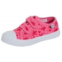 Girls Unicorn Canvas Shoes Kids Pink Plimsoll Trainers Easy Fasten Casual Pumps