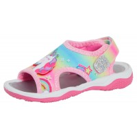 Girls Peppa Pig Rainbow Unicorn Sports Sandals Kids Summer Beach Flat Shoes Size