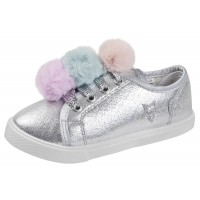 Buckle My Shoe Lace Up Metallic Pom Pom Trainers