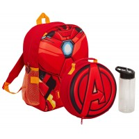 Boys Marvel Iron Man Backpack + Lunch Bag + Water Bottle Matching 3 Piece Set