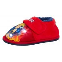 Boys Fireman Sam Light Up Flashing Slippers Kids Easy Fasten House Shoes Size