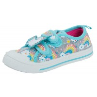 Girls Easy Fasten Rainbow Unicorn Canvas Pumps Shoes