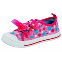 Girls Easy Fasten Polka Dot Flamingo Canvas Pumps Shoes