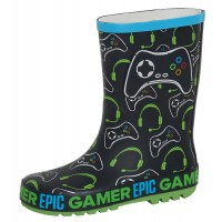 Boys Epic Gamer Wellington Boots Kids Gaming Rubber Wellies Rain Snow Shoes Size