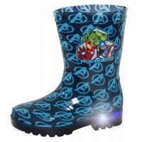 Boys Marvel Avengers Light Up Wellington Boots Super Hero Rain Shoes Wellies