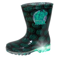 Boys Incredible Hulk Light Up Wellington Boots Marvel Rain Snow Shoes Wellies