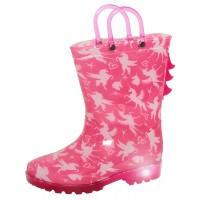 Girls Unicorn Light Up Wellington Boots Kids Pink Wellies Handle 3D Rain Shoes