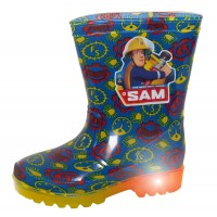 Boys Fireman Sam Light Up Wellington Boots Kids Flashing Rain Shoes Wellies