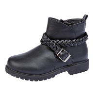 Girls Black Biker Ankle Boots