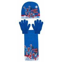 Boys Marvel Spiderman Woolly Hat + Scarf + Gloves Winter Set Kids Avengers Gift