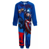 Boys Captain America Fleece All In One Kids Marvel Avengers Sleepsuit Pjs Onezee