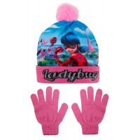 Girls Miraculous Ladybug Woolly Bobble Hat + Gloves Winter Set Kids Xmas Gift