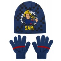 Boys Fireman Sam Stretch Beanie Woolly Hat + Gloves Winter Set Kids Xmas Gift