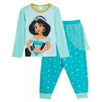 Girls Disney Aladdin Princess Jasmine Dress Up Pyjamas Full Length Novelty Pjs