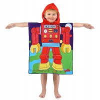 Space Robot Hooded Poncho Towel
