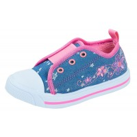 Lora Dora Girls Slip On Elasticated Trainers Kids Flower Canvas Pumps Shoes