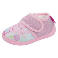Girls Peppa Pig Glitter Pink Fleece Lined Slippers House Shoes