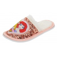 Girls Disney Princess Glitter Sequin Mule Slippers Kids Fleece Lined House Shoes