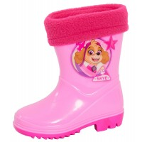 Girls Paw Patrol Fleece Lined Wellington Boots Kids Skye Rubber Rain Snow Shoes