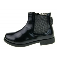 Faux Patent Leather Glitter Bow Ankle Boots