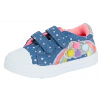 Girls Rainbow Denim Canvas Pumps