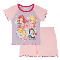 Girls Disney Princess Short Pyjamas Kids Shortie Summer Pjs Set Nightwear Size