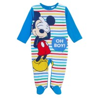 Baby Boys Mickey Mouse Babygrow Disney Toddlers One Piece Sleepsuit Easy Fasten