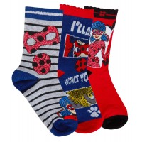 Girls Miraculous Ladybug 3 Pack Socks Girls Character Multipack Ankle Socks Size