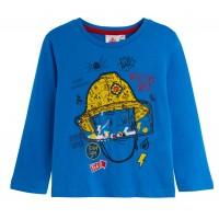 Boys Fireman Sam Long Sleeve T-Shirt Kids Novelty Winter Top Childrens Tee Size