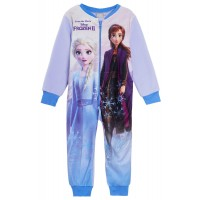 Disney Frozen Girls Fleece All In One Pyjamas Kids Elsa Anna Sleepsuit Size
