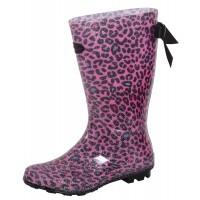 Girls Leopard Glitter Wellingtons Kids Bow Wellington Boots Rain Snow Shoes Size