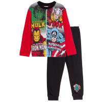 Boys Avengers Full Length Pyjamas Kids Marvel Super Hero Long Pjs Set Size